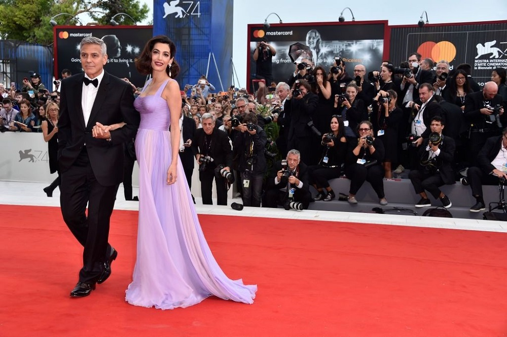 cozy vibe George and Amal Clooney