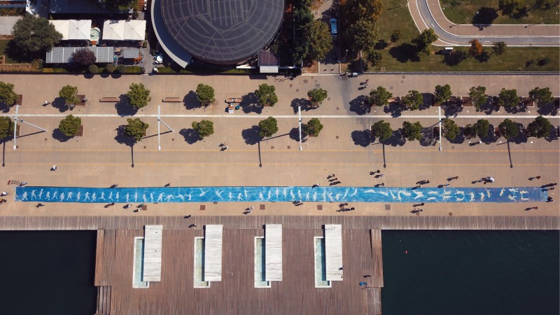 Aerial shot of Guinness world record for largest cyanotype print
