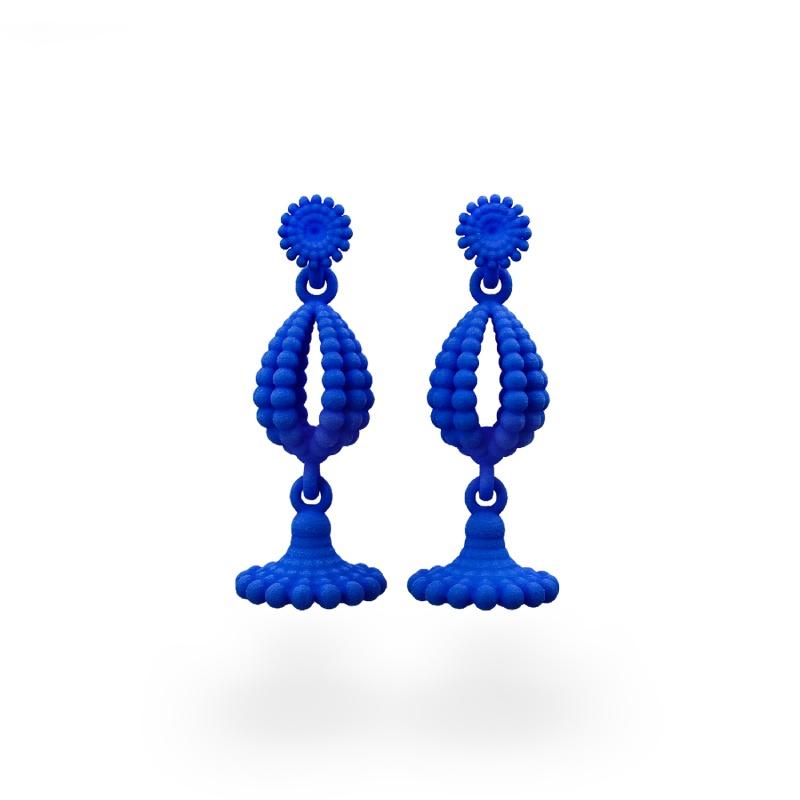blue 3D printed earings